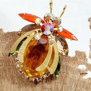 Vintage Gold Tone Jeweled Beetle Brooch
